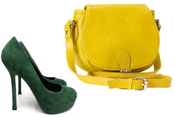 Сумка к зеленым туфлям